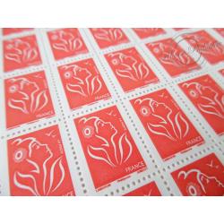 FEUILLET DE 100 TIMBRES POSTE N°3734 MARIANNE ROUGE DE LAMOUCHE (2005)