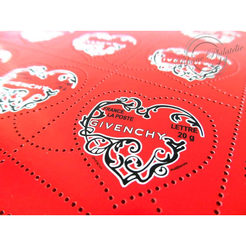 FEUILLE TIMBRES POSTE N°3996 SAINT VALENTIN COEURS 2007 GIVENCHY