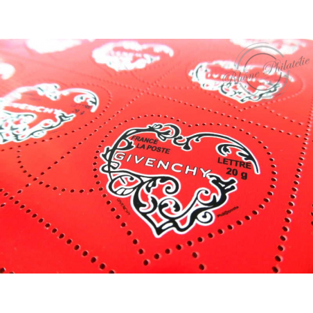 FEUILLE TIMBRES POSTE No3996 SAINT VALENTIN COEURS 2007 GIVENCHY