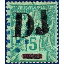 "COTE DES SOMALIS No_1 TIMBRES OBOCK DE 1892 SURCHARGE ""DJ"" (1894)"