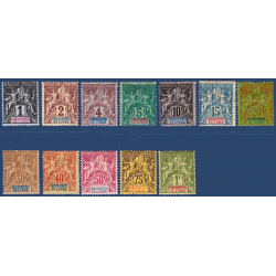 INDE No_1 à 13 TIMBRES POSTE TYPE SAGE AVEC CHARNIERE (INCOMPLET)