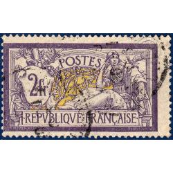 N°__122 TYPE MERSON 2f VIOLET ET JAUNE, TIMBRE OBLITÉRÉ 1900