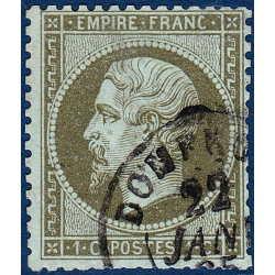 N°_19 TYPE NAPOLEON 1C OLIVE, TIMBRE OBLITERE