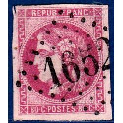 N°_49 TYPE CÉRÈS 80C ROSE, TIMBRE OBLITÉRÉ