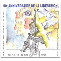 BLOC SOUVENIR DE MARIGNY MAI 1994 50E ANNIVERSAIRE DE LA LIBÉRATION