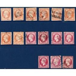 N°_16/17A/17B TYPE NAPOLEON, TIMBRES OBLITERES 1853-1859