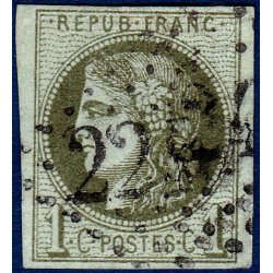 N°_39A TYPE CERES OLIVE, TIMBRE OBLITERE 1870