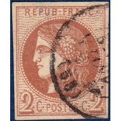 N°_40B TYPE CÉRÈS 2C BRUN ROUGE, TIMBRE OBLITÉRÉ 1870