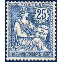 N°__127 TYPE MOUCHON RETOUCHE 25C BLEU, TIMBRE NEUF** SANS GOMME 1902