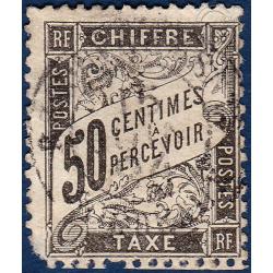 TAXE N°_20 TYPE DUVAL 50C NOIR 1881-1892 TIMBRE OBLITERE