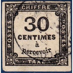 TAXE N°6 TYPE CHIFFRE TAXE 30C NOIR NON DENTELE 1863-1870 TIMBRE OBLITERE