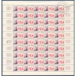 SÉRIE FEUILLES COMPLÈTES N°1257 A 1262 SAUF N°1258, TIMBRES NEUFS** 1960
