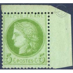 N°_53 TYPE CERES 5C VERT-JAUNE SUR AZURE, TIMBRE NEUF* 1872