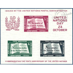ONU NEW YORK BLOC N°1 TIMBRES NEUFS** 1955
