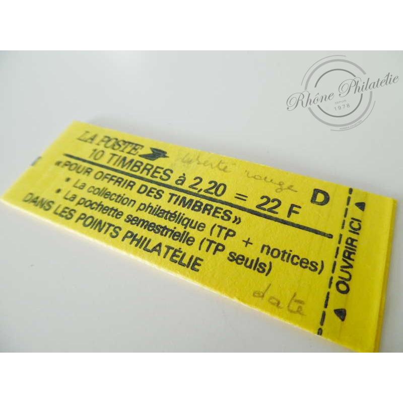 "CARNET MODERNE 2376-C 7 TYPE ""LIBERTE"" DELACROIX 2F20 ROUGE, 1985"