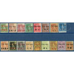 PAKHOI N°_17 A 33 TIMBRES D'INDOCHINE SURCHARGÉS, NEUFS* 1906