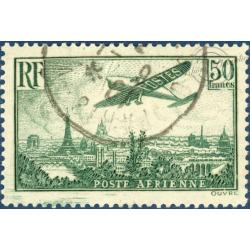 PA N°14 AVION SURVOLANT PARIS, TIMBRE OBLITÉRÉ AVEC GOMME** 1936