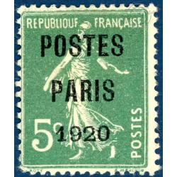 PREOBLITERE N°24 TYPE SEMEUSE FOND PLEIN 5C VERT, TIMBRE NEUF SANS GOMME 1920-22