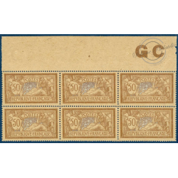 N°__120 TYPE MERSON BRUN ET GRIS, 6 TIMBRES NEUFS ** 1900