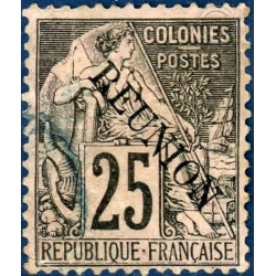 REUNION N°24 TIMBRE DES COLONIES FRANCAISES SURCHARGÉ,  OBLITÉRÉ  1891