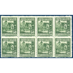 ANDORRE ESPAGNOL TIMBRES N°46 NEUFS SANS CHARNIERE en bloc de 8 timbres