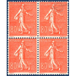 N°__203 SEMEUSE LIGNEE 80C ROUGE, BLOC 4 TIMBRES NEUFS** 1924-32