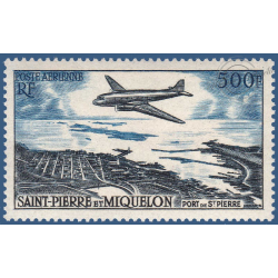 SAINT PIERRE MIQUELON POSTE AERIENNE N°_23 AVION S/ PORT SAINT-PIERRE TIMBRE 1956