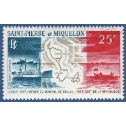 SAINT PIERRE MIQUELON POSTE AERIENNE N°_38 VOYAGE GLE DE GAULLE 1967