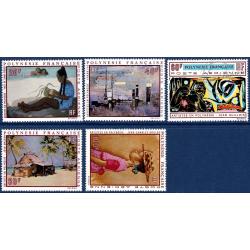 POLYNESIE POSTE AERIENNE N°_40 A 44 SERIE TABLEAUX DE 1970, ARTISTES LOCAUX