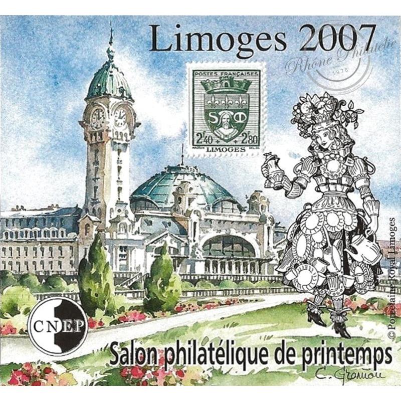 """BLOC CNEP N°_48a NON DENTELE """"SALON PHILATELIQUE DE PRINTEMPS LIMOGES 2007"""""""