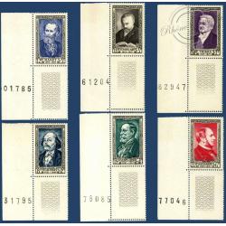 N°__930 A 935 CÉLÉBRITÉS DU XIXe SIÈCLE, BLOCS DE 4 TIMBRES NEUFS** 1952