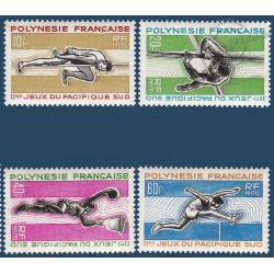 POLYNESIE N°_42-45 SERIE JEUX PACIFIQUE-SUD, TIMBRES POSTE DE 1966
