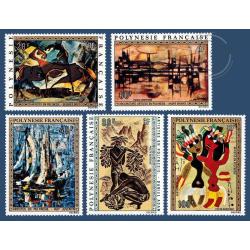 POLYNESIE POSTE AERIENNE N°_65 A 69 SERIE TABLEAUX DE 1972, ARTISTES LOCAUX