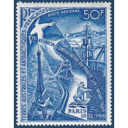 TAAF POSTE AERIENNE N° 18 REUNION TRAITE INTERNATIONAL ANTARCTIQUE 1969