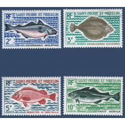 SAINT PIERRE MIQUELON N°__421 A 424 SÉRIE TIMBRES SUR LES POISSONS 1972