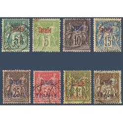 CAVALLE N°1 A 9 SAUF N°4 TYPE SAGE SURCHARGÉS, TIMBRES OBLITÉRÉS 1893-1900