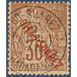 DIEGO SUAREZ N°_21 TYPE ALPHÉE DUBOIS SURCHARGÉ, TIMBRE OBLITÉRÉ 1892