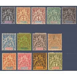 DIEGO SUAREZ N°_25 A 37 TYPE SAGE, TIMBRES NEUFS* 1892