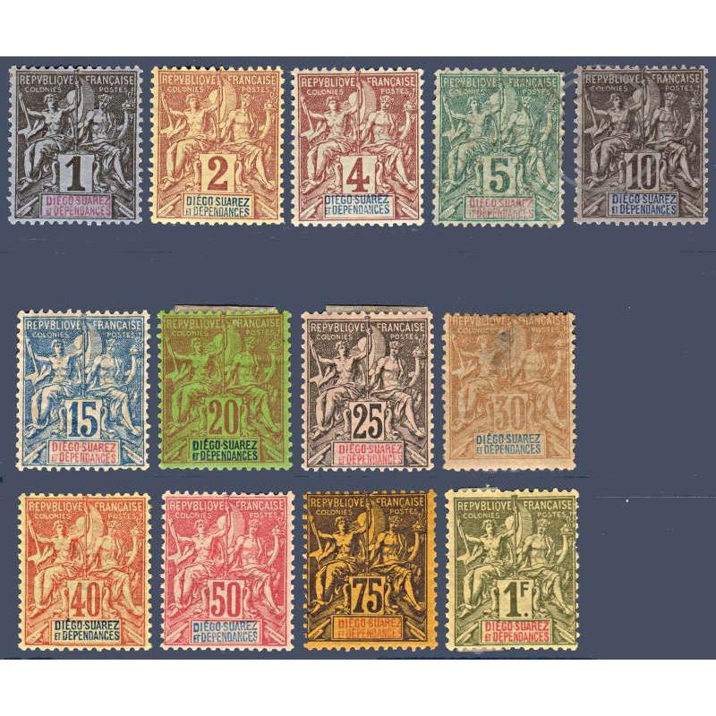 DIEGO SUAREZ N°_25 A 37 TYPE SAGE, TIMBRES NEUFS* 1892