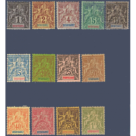 DIEGO SUAREZ N°_38 A 50 TYPE SAGE, TIMBRES NEUFS* 1893