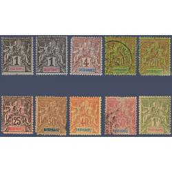 DIEGO SUAREZ N°_38 A 50 SAUF N°39, 41 A 43 ET 49 TYPE SAGE, TIMBRES DE 1893
