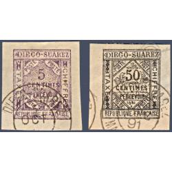 DIEGO SUAREZ TAXE N°_1 ET 2 LITHOGRAPHIES, TIMBRES OBLITÉRÉS 1891