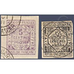 DIEGO SUAREZ TAXE N°_1 ET 2 LITHOGRAPHIES, TIMBRES OBLITÉRÉS DE 1891