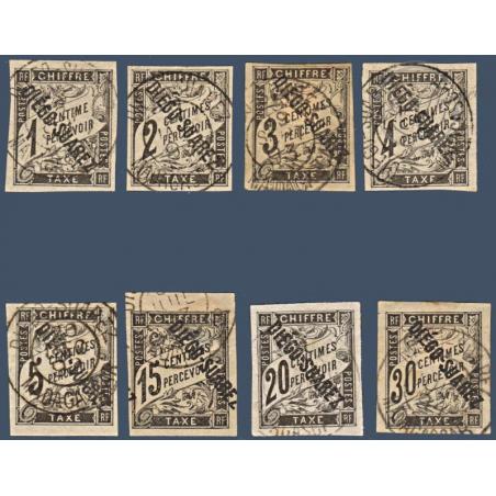DIEGO SUAREZ TAXE N°_3 A 11 SAUF N°8 SURCHARGÉS, TIMBRES OBLITÉRÉS DE 1892