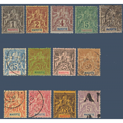 MAYOTTE N°1 A 14 SAUF N°13 TIMBRES POSTE TYPE SAGE 1892-99