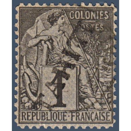 TAHITI N°_7 TYPE ALPHÉE DUBOIS SURCHARGÉ, TIMBRE OBLITÉRÉ 1893