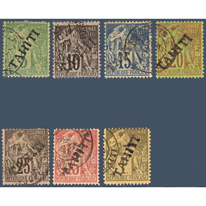 TAHITI N°_10 A 18 SAUF 14 ET 16 TYPE ALPHÉE DUBOIS, TIMBRES OBLITÉRÉS 1893