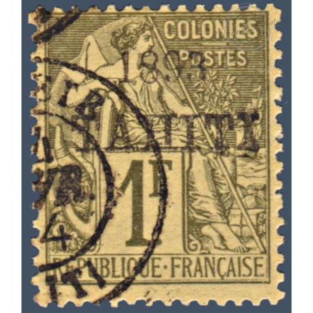 TAHITI N°_30 TYPE ALPHÉE DUBOIS SURCHARGÉ, TIMBRE OBLITÉRÉ 1893