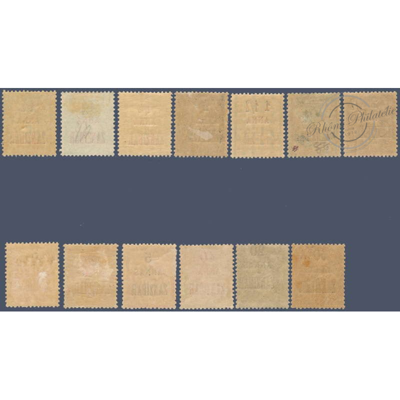 ZANZIBAR N°_17 A 31 SAUF N°21-27 SÉRIE COLONIES FRANCAISES, TIMBRES DE 1896-1900