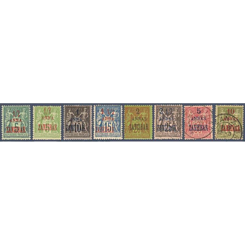 ZANZIBAR N°_17 A 29 SAUF N°18-21-25 A 27 TIMBRES COLONIES FRANCAISES, 1896-1900
